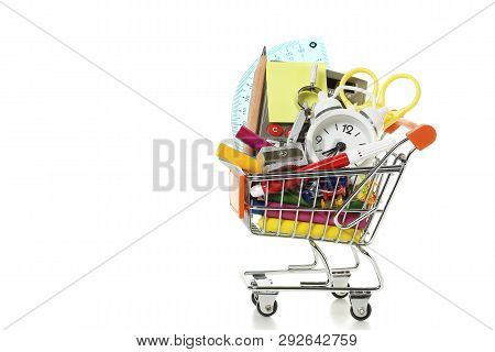 Shopping Cart With School Supplies Isolated On White