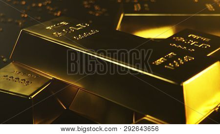 3d Illustration Close-up Gold Bars, Weight Of Gold Bars 1000 Grams Concept Of Wealth And Reserve. Co