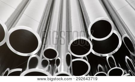 Industry Business Production And Heavy Metallurgical Industrial Products, Many Shiny Steel Pipes, In