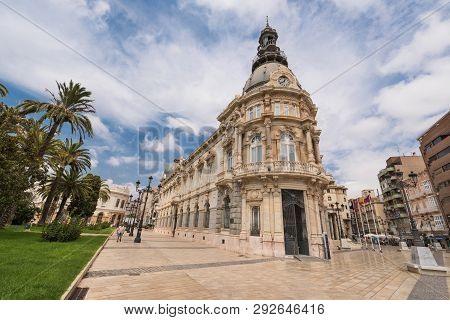 Cartagena, Spain - August 25, 2017: Cartagena Cityscape, Tourist Visiting Downtown Of The Historical