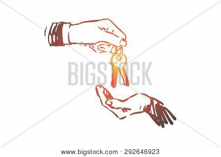 Real Estate, Key, Hand, Buy, Sell Concept. Hand Drawn Keys In Hand, Real Estate Selling Concept Sket