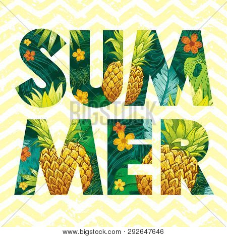 Hello Summer Logo With Pineapple Fruit, Tropic Leaf Pattern. Ananas Hand Drawn Illustration For Hawa