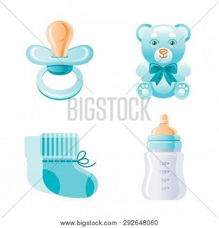 It S A Boy, Newborn Icon Set. 3d Cartoon Baby Born Blue Symbol. Cute Toy Bear, Pacifier, Milk Bottle