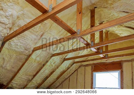 Insulation Of Attic With Foam Insulation Cold Barrier And Insulation Material Polyurea Spraying, Foa
