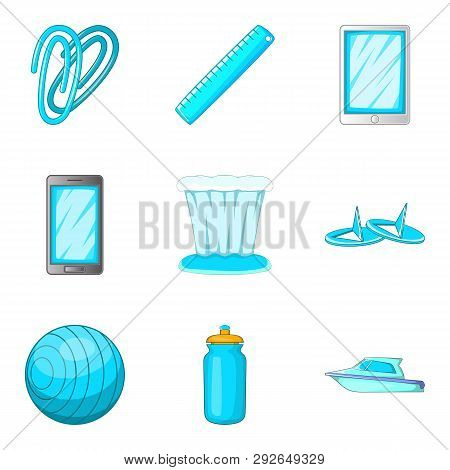 Cerulean Icons Set. Cartoon Set Of 9 Cerulean Icons For Web Isolated On White Background