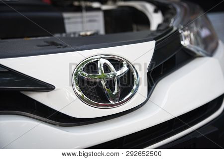 Bangkok Thailand - March 9 2019 : New Toyota Yaris Ativ 2019 White With Toyota Logo On Front Car Bra