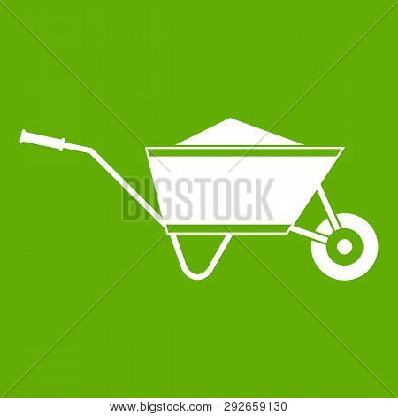 Wheelbarrow with sand icon white isolated on green background. illustration poster