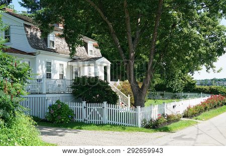 House Exterior With Yard Fence, Tree And Blooming Flower