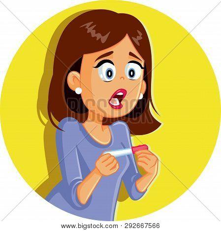 Surprised Woman Holding Pregnancy Test Vector Illustration
