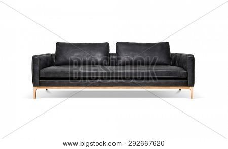 Luxury leather sofa on white background, including clipping path