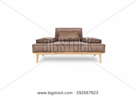 Leather armchair on white background, including clipping path