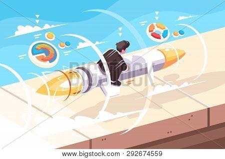 Businessman Flying On Rocket Vector Illustration. Beginning