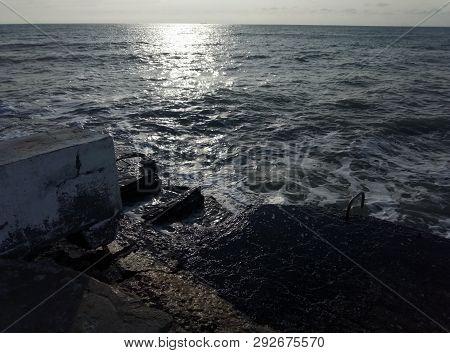 Rocky Shore Of Caspian Sea.rocky Shore Of The Caspian Sea.winter Season.