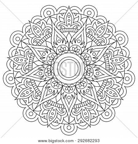Circular Pattern In Form Of Mandala For Henna, Mehndi, Tattoo, Decoration. Decorative Ornament In Et