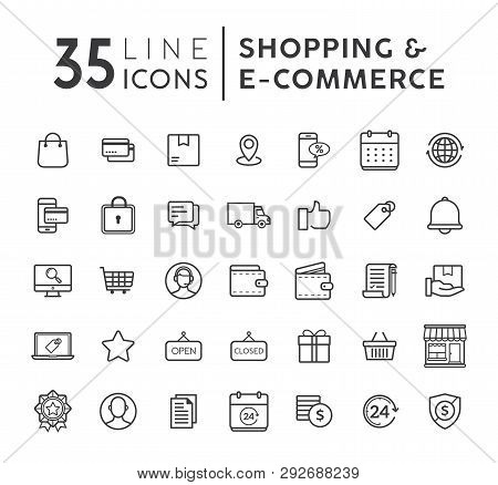 Online Shopping Line Icons Set. E-commerce And Shopping Vector Icons Set. Outline Web Icons Set. Vec