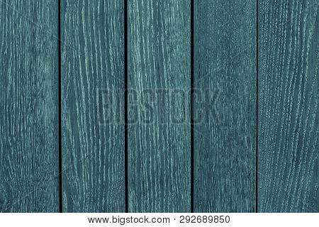 Green Wooden Fence Closeup. Green And Gray Wooden Table. Wooden Gray-green Boards. Wood Texture. Gre