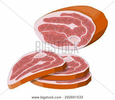 Beef Tenderloin. Pork Knuckle. Slice Of Steak, Fresh Meat. Uncooked Pork Chop. Vector Illustration I