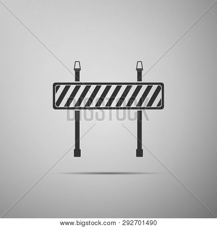 Road Barrier Icon Isolated On Grey Background. Symbol Of Restricted Area Which Are In Under Construc