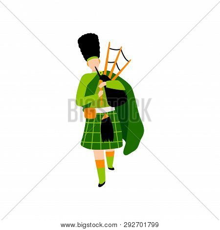 Male Bagpiper In Green Irish Costume Playing Bagpipe, Man Celebrating Saint Patrick Day Vector Illus
