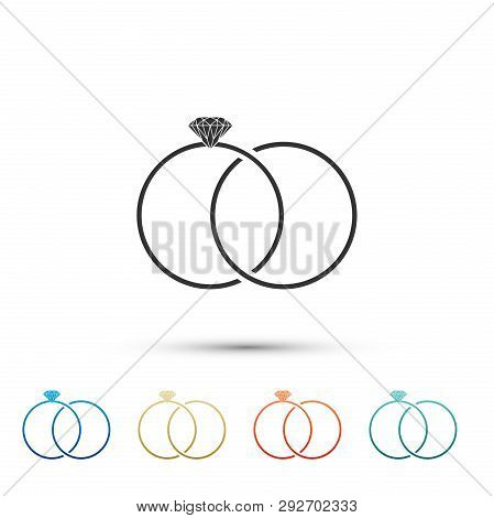 Wedding rings icon isolated on white background. Bride and groom jewelery sign. Marriage icon. Diamond ring. Set elements in color icons. Vector Illustration poster