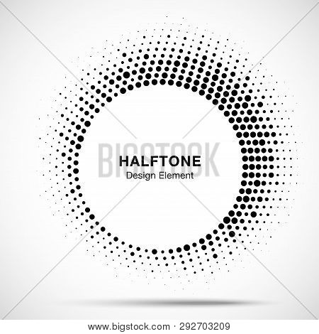 Halftone Circle Frame Abstract Dot Logo Emblem Design Element. Half Tone Circular Icon. Original Rou