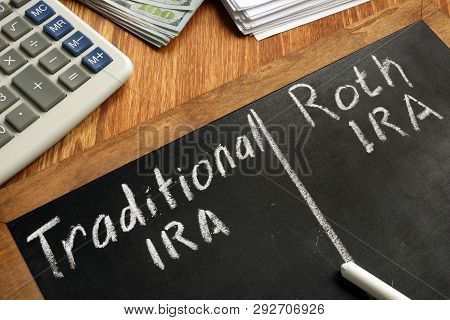 Traditional IRA vs Roth IRA written on blackboard. poster