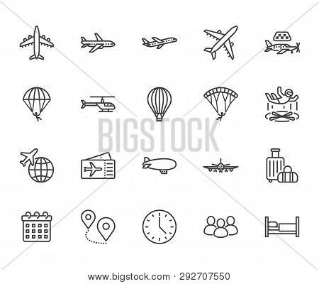 Aircraft Flat Line Icons Set. Airplane, Helicopter, Air Taxi, Skydiving, Balloon, Aero Tube, Paragli
