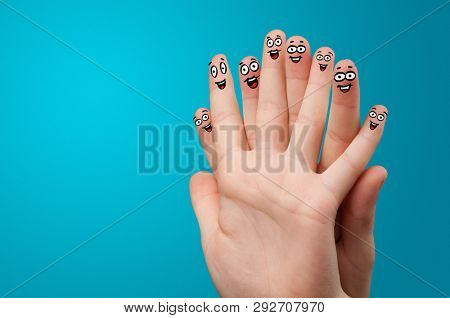 Happy face fingers hug each other