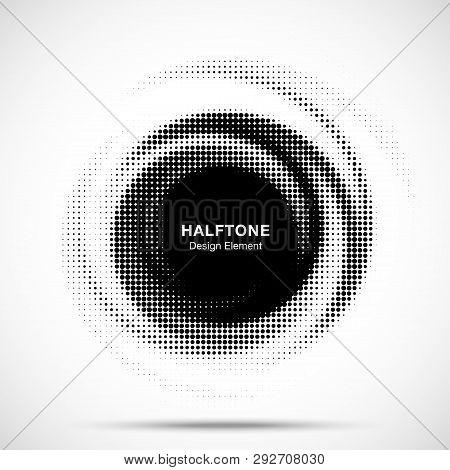 Halftone Circle Dotted Frame Circularly Distributed. Abstract Dots Logo Emblem Design. Round Border
