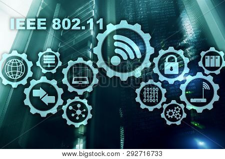 Wireless Data Transmission Concept Ieee 802.11. Server Background.