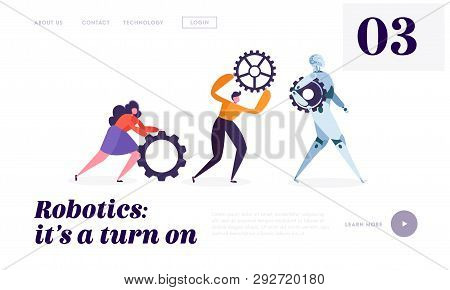 Technical Service Robot Landing Page. Special Crew Of Maintenance Machine. Character Moving Replacem