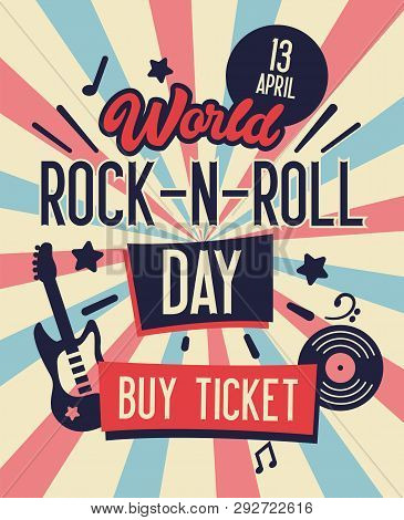 World Rock And Roll Day Typography Banner. Buy Ticket On Concert At Lowest Rate. Live Music With Ele