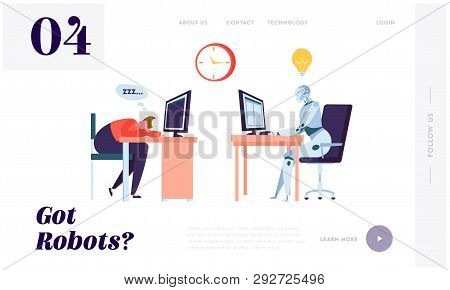 Robot Working All Time Landing Page. Character Sleeping On Workplace. Machine Can Process Informatio