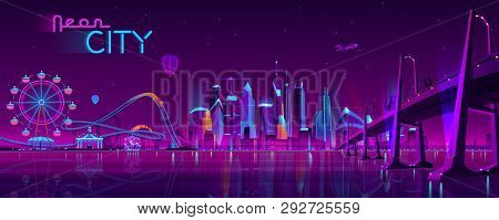 Vector Big Bridge To Amusement Park. Modern Megapolis On River And Ferris Wheel. Night Architecture