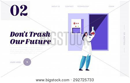 Woman Scientist Recycle Trash in Laboratory to Clean Environment and Ecology Landing Page. Garbage Utilization Service. Cleanup Rubbish Website or Web Page. Flat Cartoon Vector Illustration poster