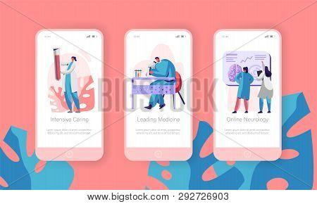 Medical Laboratory Mobile App Page Onboard Screen Set. Intensive Caring, Leading Medicine, Online Ne