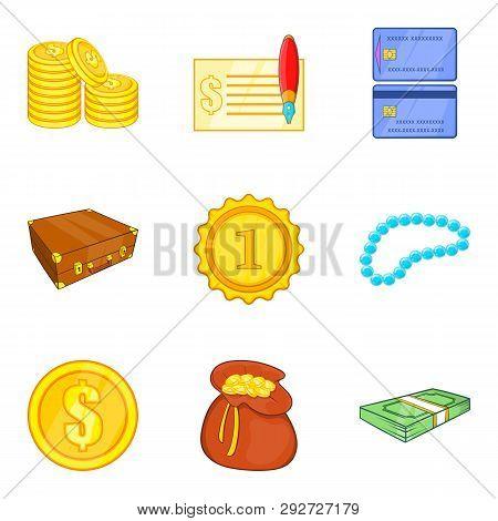 Splendor Icons Set. Cartoon Set Of 9 Splendor Icons For Web Isolated On White Background