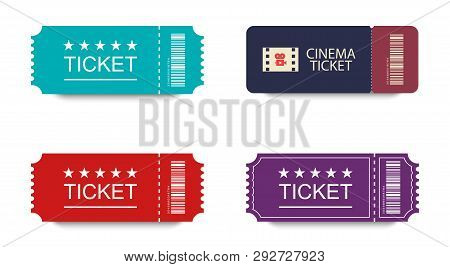 Collection Tickets In Flat Design With Shadow On White Background. Ticket Icons. Colorful Tickets. C