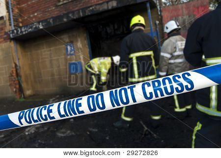 Police Tape At Fire Scene