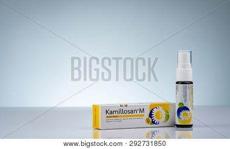 Chonburi, Thailand-october 11, 2018 : Kamillosan M In Bottle With Sprayer. Essential Oils And Active