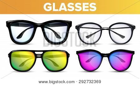 Glasses Set Vector. Modern And Vintage Eyewear Glasses. Vision Optical Icon. Classic And Hipster Tra