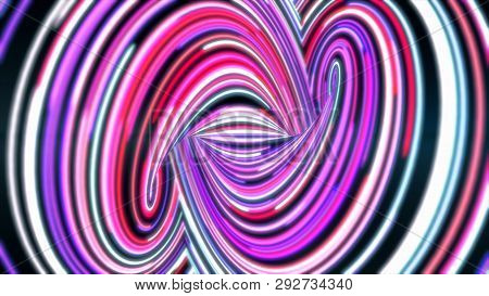 Swirling Abstract Path With Colored Lines Fast. Animation. Energy Channel With Swirling Twists And T