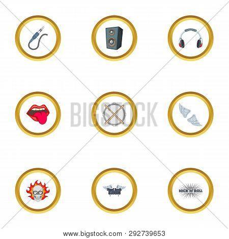 Rockstar Icons Set. Cartoon Style Set Of 9 Rockstar Icons For Web Design