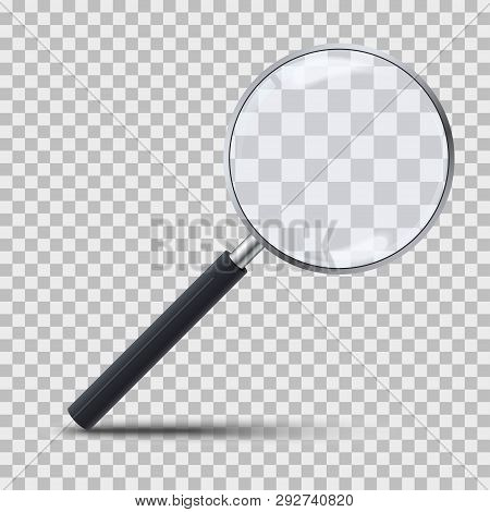 Realistic Magnifying Glass On Transparent Background. 3d Magnifier Loupe With Glass And Dark Handle.