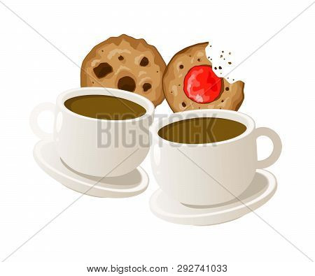 Two Cups Of Coffee With Cookies. Vector. Eps 10