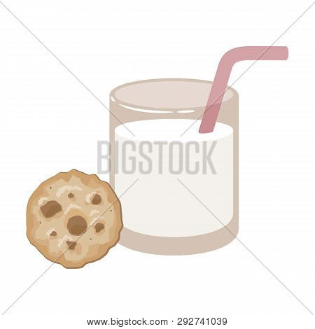 Glass Of Milk With Cookies. Vector Illustration. Eps 10