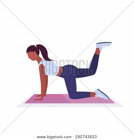Sporty Woman Doing Fitness Exercises On Yoga Mat African American Girl Training In Gym Aerobic Worko