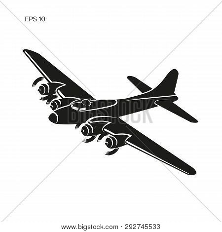 Vintage World War 2 Legendary Heavy Bomber Vector. Old Retro Piston Engine Propelled Heavy Aircraft.