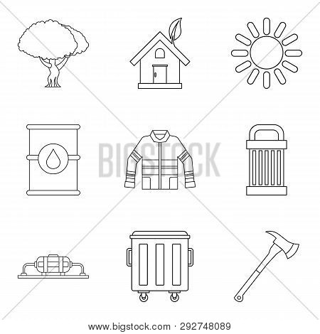 Catastrophic Icons Set. Outline Set Of 9 Catastrophic Icons For Web Isolated On White Background