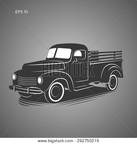 Old Retro Pickup Truck Vector Illustration Icon. Vintage Transport Vehicle